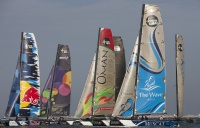 Fleet racing on the final day of the Extreme Sailing Series Asia, Muscat.